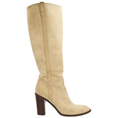 Cream Gucci Suede Knee-High Boots