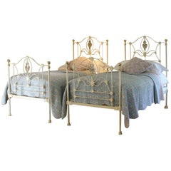 Cream Iron Twin Antique Beds, MPS29