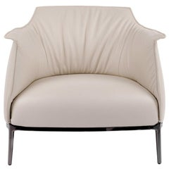 Cream Italian Leather with Gunmetal Grey Frame Armchair, Poltrona Frau