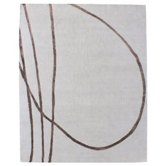Cream Ivory Brown Modernist Hand Knotted Wool & Silk Rug in Japanese Shodo Style
