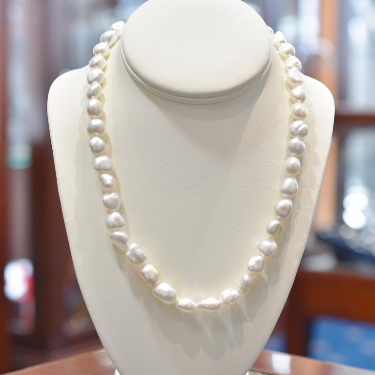6bb38d23fac35 Cream Keshi Pearl Necklace with Sterling Silver Fluted Clasp