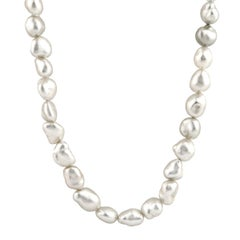 Cream Keshi Pearl Necklace with Sterling Silver Fluted Clasp
