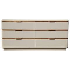 Cream Lacquer and Wood Six Drawer Mid-Century Modern Dresser by Lane Altavista