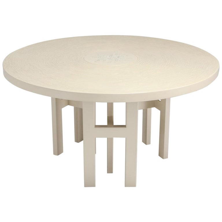 Cream Lacquer Resin Dining Table By Dresse