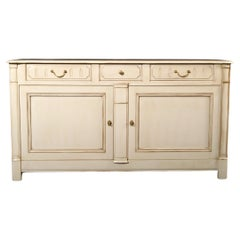Cream Lacquered Country French Buffet, 2 Doors, 3 Drawers, Pink Lacquered Inside