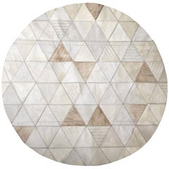 Cream Lasered Round Customizable Trilogia Cowhide Area Rug Large