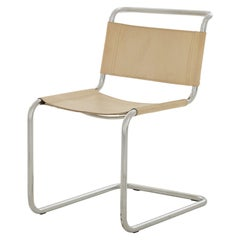 Cream Leather and Chrome Cantilever Chair