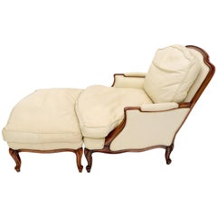 Cream Leather Chaise 2-Part Chaise Lounge Chair and Ottoman
