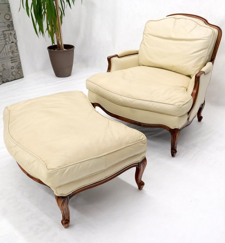 French Provincial Cream Leather Chaise 2-Part Chaise Lounge Chair and Ottoman For Sale