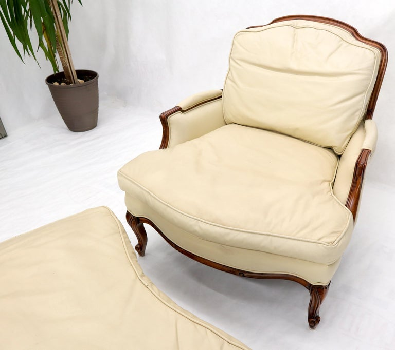 American Cream Leather Chaise 2-Part Chaise Lounge Chair and Ottoman For Sale