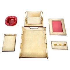 Cream Leather Desk Set by Longchamp