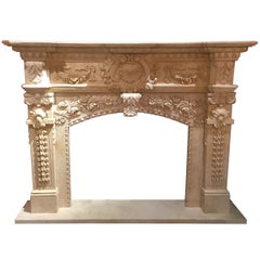 Cream Marble Hand Carved Mantel with Floral and Foliate Designs