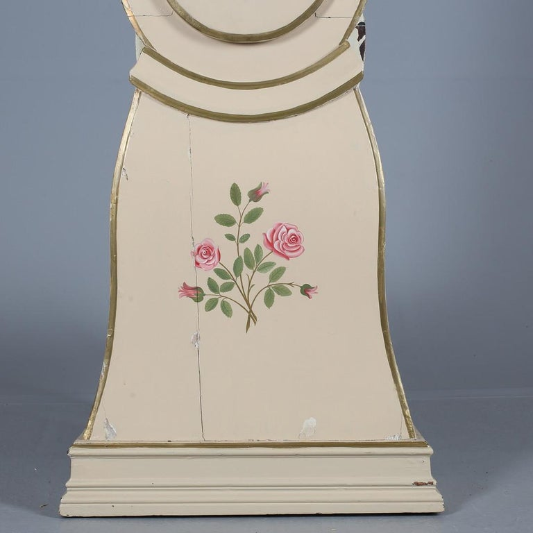 Gustavian Cream Mora Clock Swedish Early 1800s Antique Roses Hand Painted For Sale