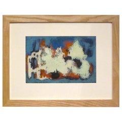 Cream, Orange, Blue Midcentury Abstract Acrylic Painting, Germany, 1950s