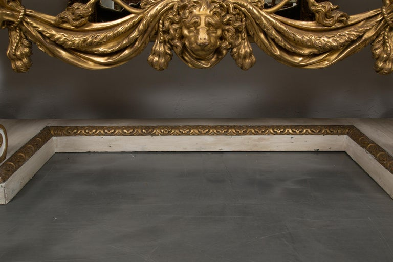 Cream-Painted and Parcel Gilt Italian Console with Marble Top For Sale 4