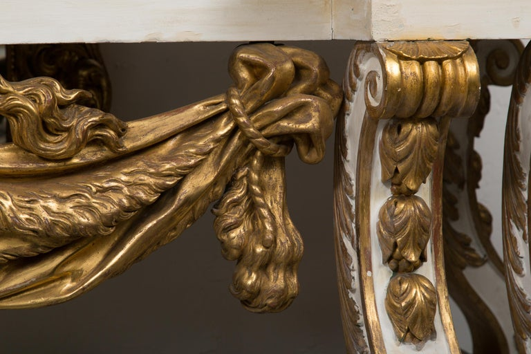 Cream-Painted and Parcel Gilt Italian Console with Marble Top For Sale 6