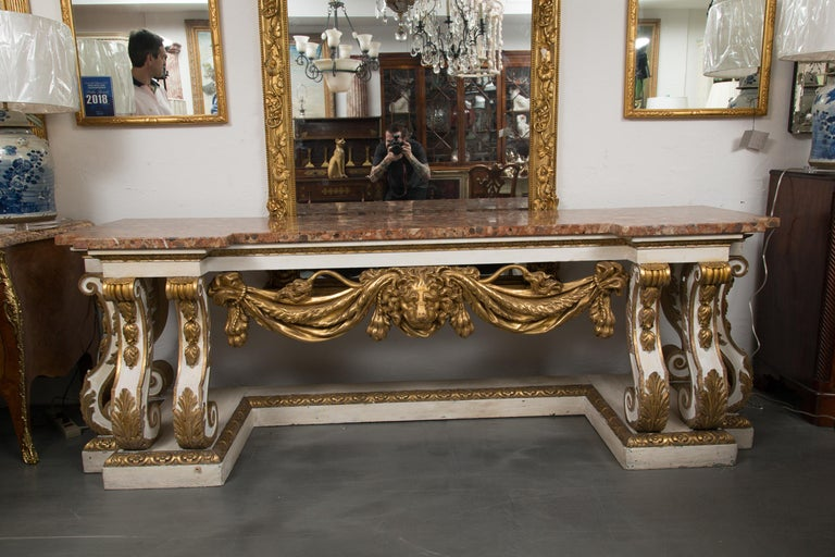 Cream-Painted and Parcel Gilt Italian Console with Marble Top For Sale 7