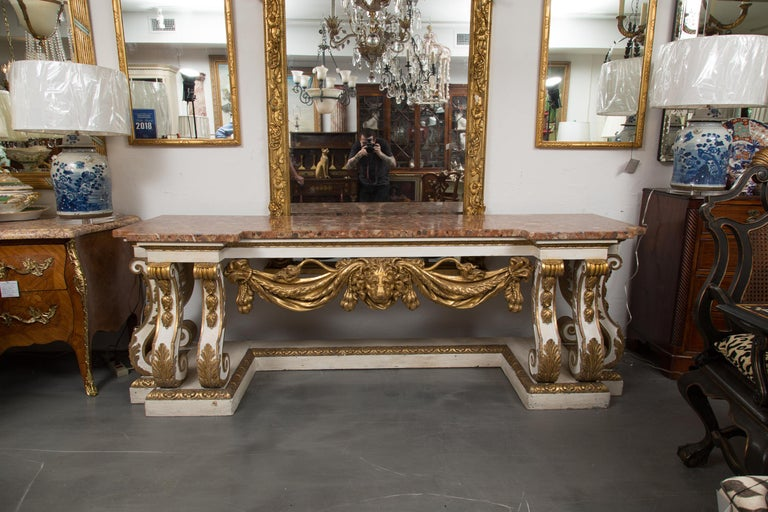 Cream-Painted and Parcel Gilt Italian Console with Marble Top For Sale 8