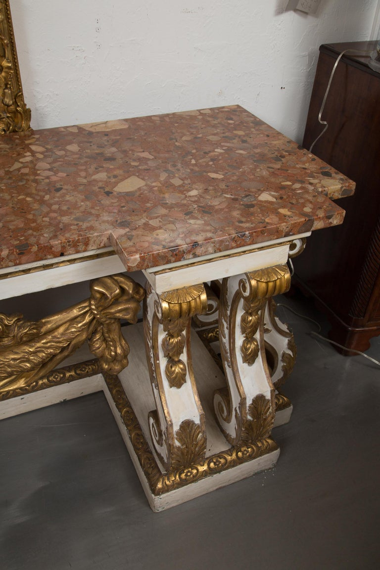 Cream-Painted and Parcel Gilt Italian Console with Marble Top In Good Condition For Sale In WEST PALM BEACH, FL
