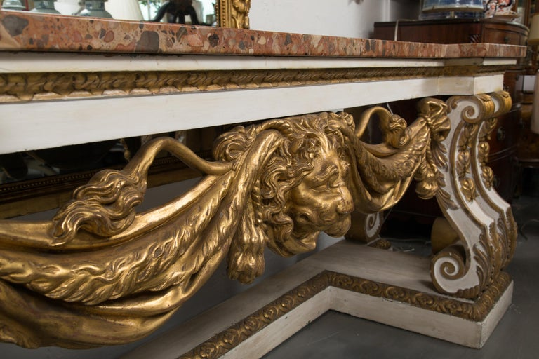 19th Century Cream-Painted and Parcel Gilt Italian Console with Marble Top For Sale