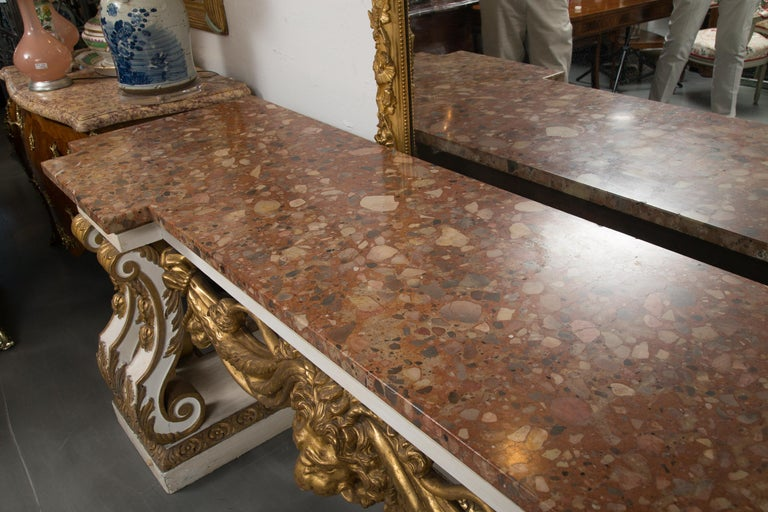 Cream-Painted and Parcel Gilt Italian Console with Marble Top For Sale 1