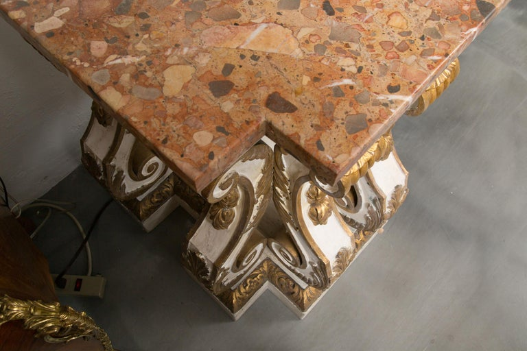 Cream-Painted and Parcel Gilt Italian Console with Marble Top For Sale 2