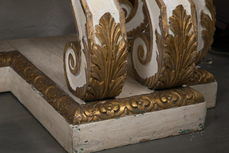 Cream-Painted and Parcel Gilt Italian Console with Marble Top For Sale 3