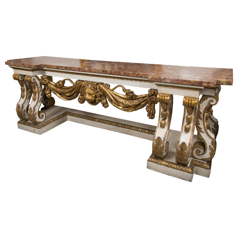 Cream-Painted and Parcel Gilt Italian Console with Marble Top For Sale