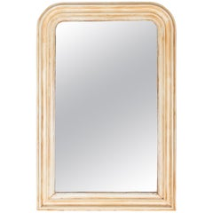 Cream Painted Antique French Louis Philippe Mirror