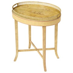 Cream-Painted Oval Tray Table with Chinoiserie Decoration