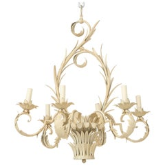 Cream-Painted Tôle Six-Light Chandelier