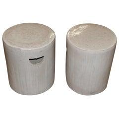 Cream Pair of Porcelain Round Glazed Terracotta Stools, China, Contemporary