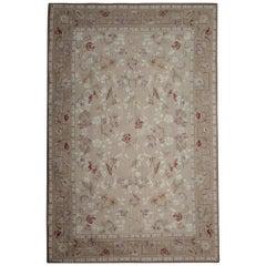 High Quality Handmade Rug Genuine Cream Coloured Floral Carpet Aubusson Rug