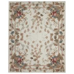 Cream Rug Vine Leaves Floor Aubusson Rugs, Needlepoint Carpet Flat-Weave
