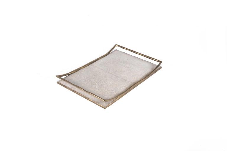Art Deco Cream Shagreen Tray by R&Y Augousti For Sale