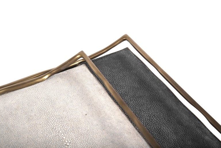 Hand-Crafted Cream Shagreen Tray by R&Y Augousti For Sale