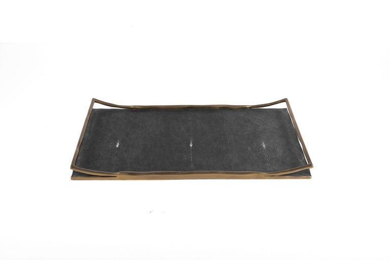 Contemporary Cream Shagreen Tray by R&Y Augousti For Sale