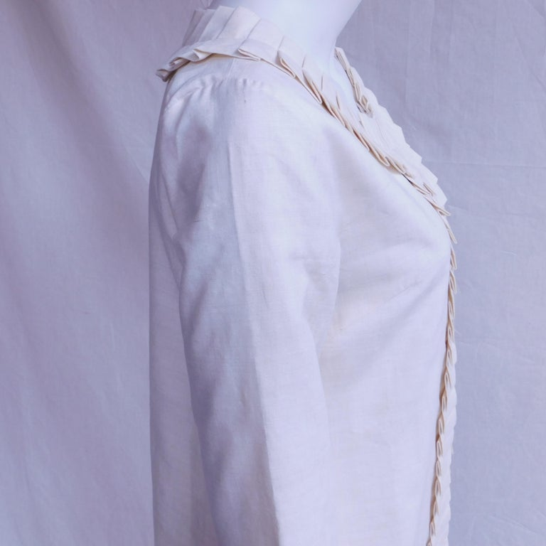 Cream Silk Jacket with Pleated Details Anauve of Madrid Spain For Sale 5