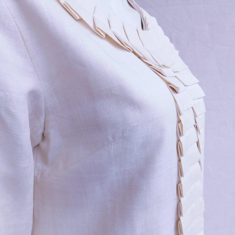 Cream Silk Jacket with Pleated Details Anauve of Madrid Spain For Sale 7