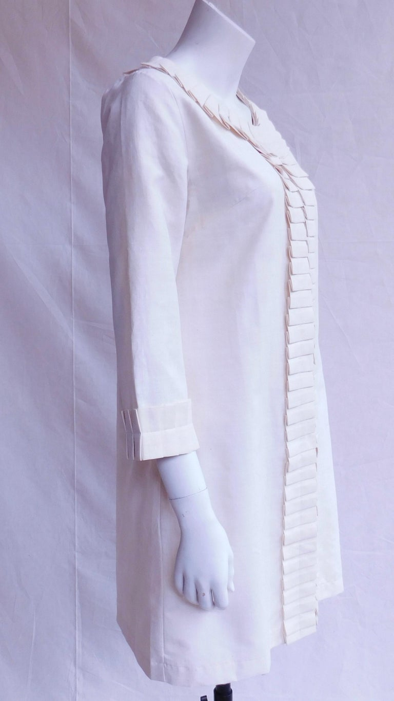 Cream Silk Jacket with Pleated Details Anauve of Madrid Spain For Sale 2