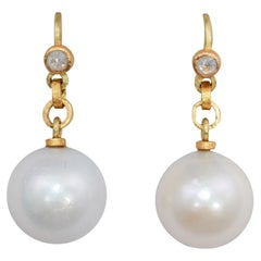 Cream South Sea Pearls Diamond 22-21K Gold Contemporary Drop Dangle Earrings