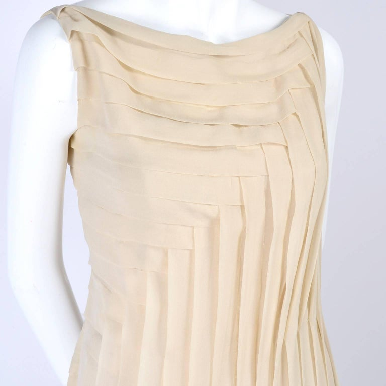 Beige Silk Couture Vintage Designer Dress w Pleating in Nude Tissue Silk  For Sale