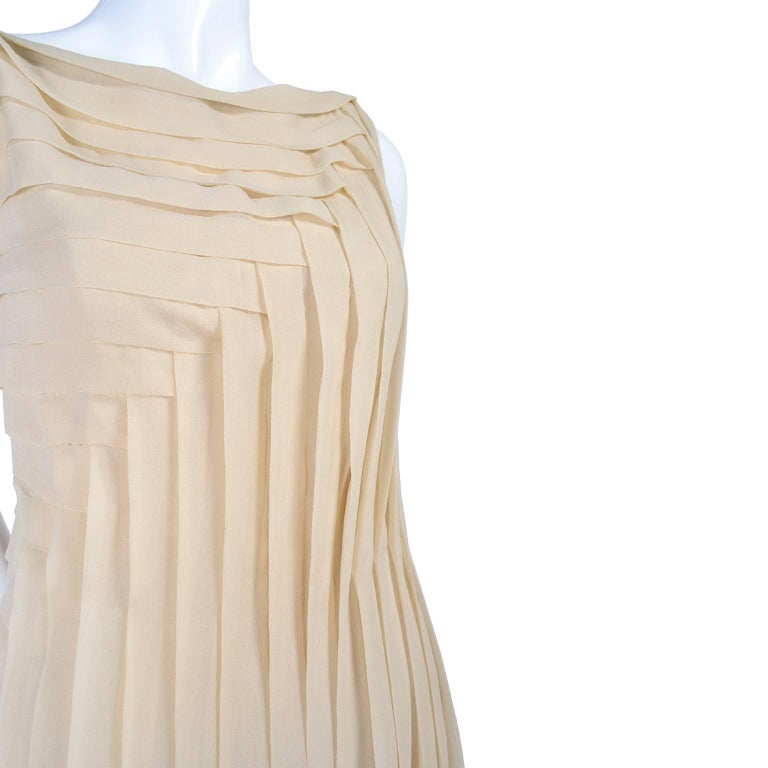 Silk Couture Vintage Designer Dress w Pleating in Nude Tissue Silk  In Excellent Condition For Sale In Portland, OR