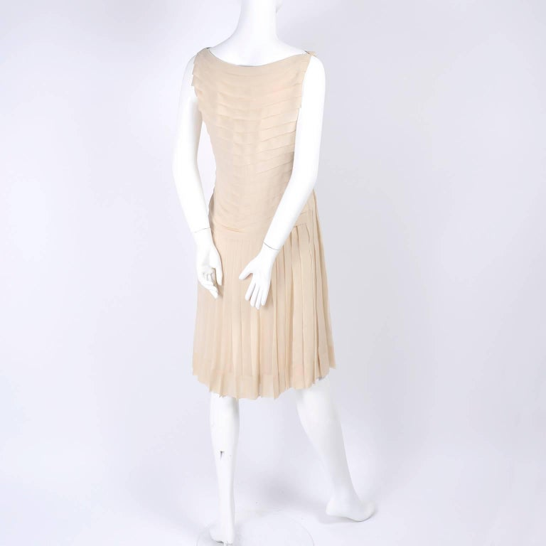 Silk Couture Vintage Designer Dress w Pleating in Nude Tissue Silk  For Sale 1