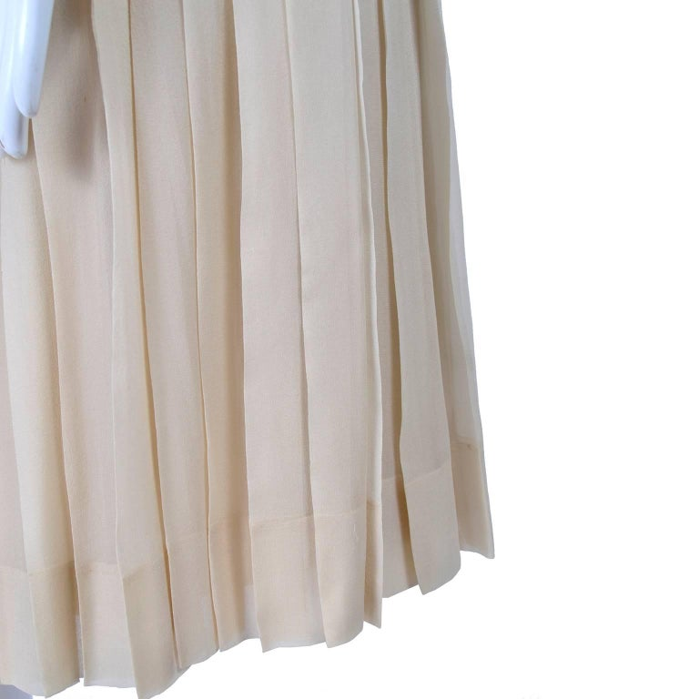 Silk Couture Vintage Designer Dress w Pleating in Nude Tissue Silk  For Sale 2