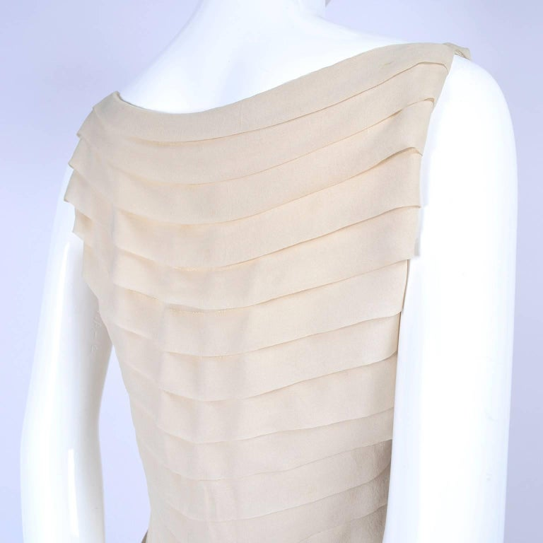 Silk Couture Vintage Designer Dress w Pleating in Nude Tissue Silk  For Sale 3