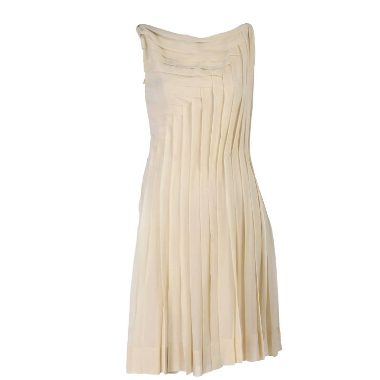 3ded95f5d52 Silk Couture Vintage Designer Dress w Pleating in Nude Tissue Silk For Sale