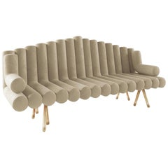 Cream Velvet Sofa with Brass Legs