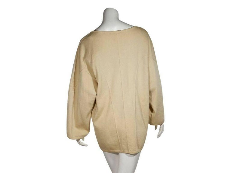 Beige Cream Vintage Alaia Oversized Wool Sweater For Sale