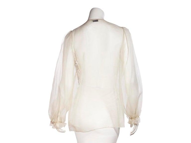 Beige Oscar De La Renta Cream Silk Embellished Blouse